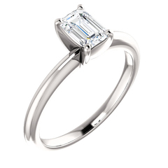 Emerald cut diamond solitaire ring 7