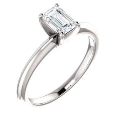 Emerald cut diamond solitaire ring 7