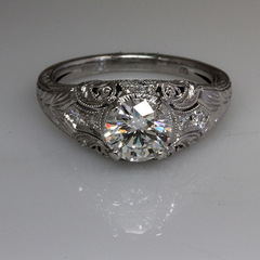 Vintage style platinum engagement ring 3
