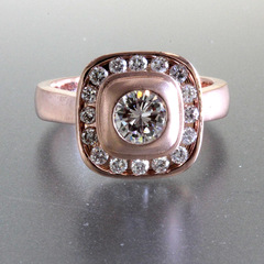 Pillow halo rose gold ring 1