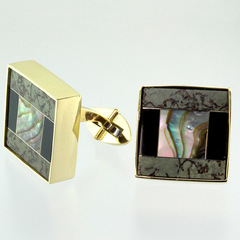 Cufflink 18 karat yellow gold inlay mosaic 11