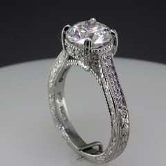 Vintage style engagement ring round diamond 6