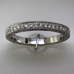Vintage style wedding band round diamonds 3