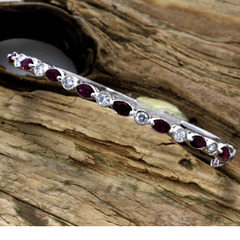 Ruby diamond stackable bracelet