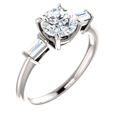 Baguette round diamond engagement ring 4