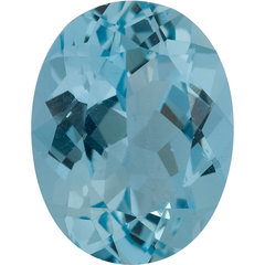 Oval aqua gemstone blue