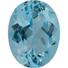Oval aqua gemstone blue