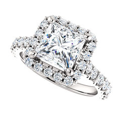 Princess cut halo engagement ring 1