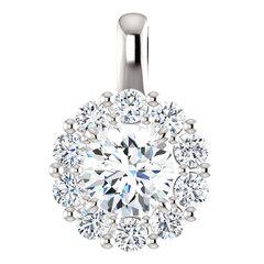 Round halo pendant gold platinum 2